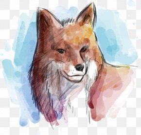Hand Painted Wolf Vector - Gray Wolf Watercolor Painting Euclidean Vector Animal PNG