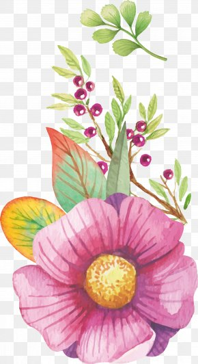 Beautifully Vector Watercolor Floral Decoration - Watercolour Flowers Watercolor Painting Clip Art PNG