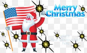 Santa Claus Holding American Flag - Flag Of The United States Clip Art PNG
