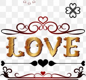 Gold LOVE - Heart PNG