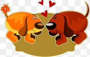 Qinmi Puppy - Valentines Day Puppy Greeting Card Illustration PNG