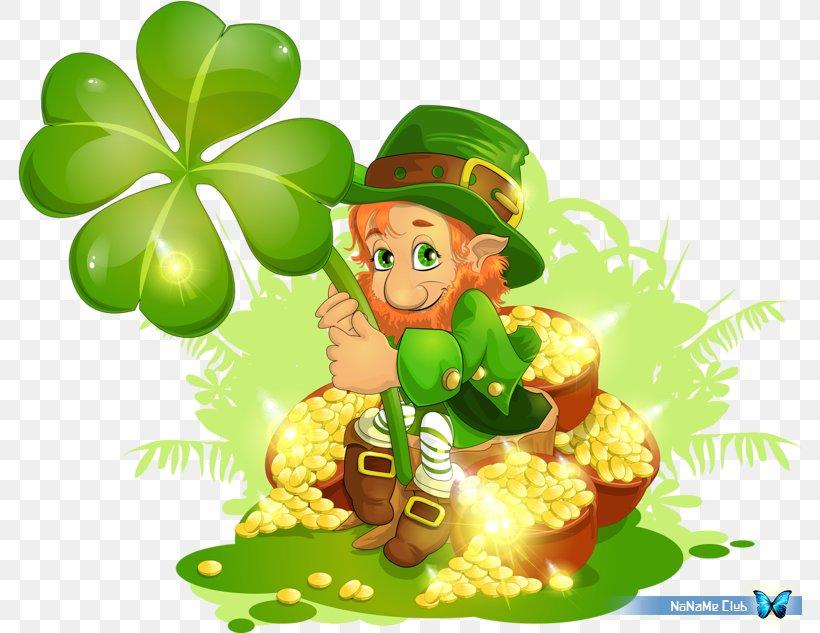 Saint Patrick's Day Leprechaun Clover Clip Art, PNG, 784x633px, Saint Patrick S Day, Clover, Fictional Character, Food, Fruit Download Free