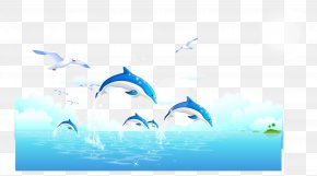 Fresh Dolphin Ocean Landscape Vector - Dolphin Whale Wallpaper PNG