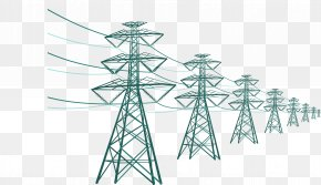 Substation Wires - Electricity Transmission Tower High Voltage Utility Pole PNG