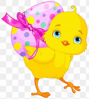 Easter Chicken With Pink Egg Clipart - Chicken Easter Bunny Easter Egg Clip Art PNG