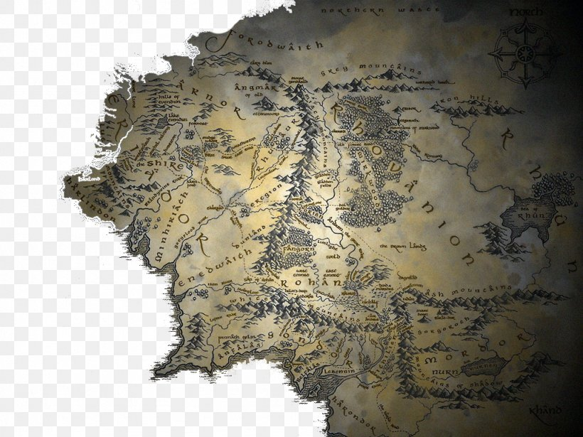 The Lord Of The Rings The Hobbit A Map Of Middle-earth, PNG ...