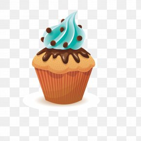 Vector Chocolate Cake - Muffin Cupcake Bakery Clip Art PNG