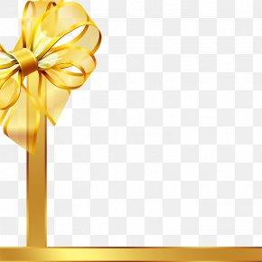 Gold Ribbon - Ribbon Gift Clip Art PNG