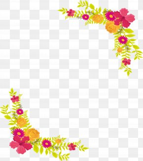 Pink And Yellow Flower Border - Yellow Flower Computer File PNG