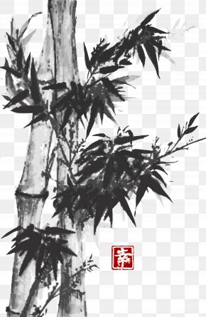 Bamboo Painting - Ink Wash Painting Drawing Inkstick Japanese Painting PNG