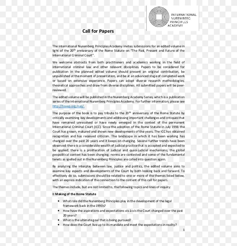 Call For Papers International Nuremberg Principles Academy Rome Statute Of The International Criminal Court, PNG, 600x850px, Call For Papers, Academic Conference, Academy, Area, Court Download Free