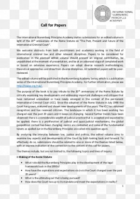 Past And Future - Call For Papers International Nuremberg Principles Academy Rome Statute Of The International Criminal Court PNG