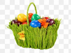 Easter Green Basket - Easter Bunny Egg In The Basket Easter Basket PNG