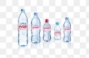 Mineral Water Bottles - Evian Mineral Water Bottled Water PNG