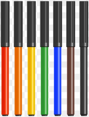 Multi Colored Markers Clip Art Image - Image File Formats Lossless Compression PNG