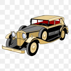 Cartoon Illustration Painted Yellow Vintage Car - Sports Car Cartoon Illustration PNG