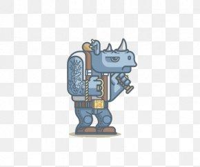 Flat Cartoon Rhino - Rhinoceros 3D Illustrator Illustration PNG