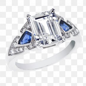 Processing Jewelry - Sapphire Engagement Ring Art Deco Diamond Cut PNG