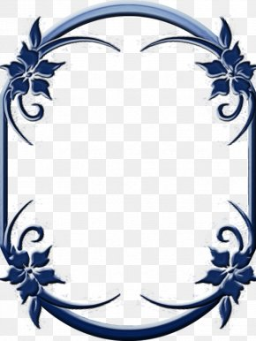 Ornament Film Frame - Blue Flower Frame PNG