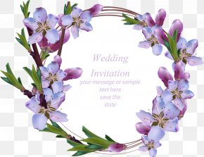 Vector Hand Painted Purple Wreath - Wedding Invitation Flower Wreath Stock Illustration Euclidean Vector PNG