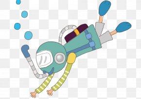 Diving Boy - Underwater Diving Cartoon Scuba Diving Illustration PNG