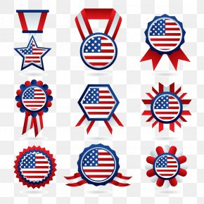 Vector American Medal - Flag Of The United States Badge Clip Art PNG