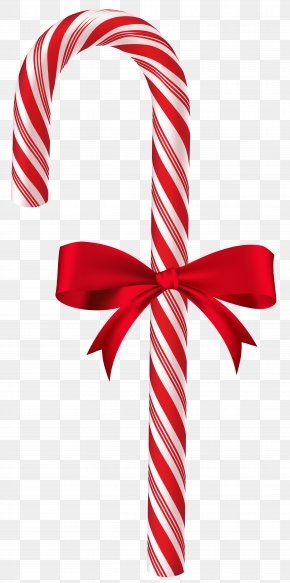 Candy Cane With Red Bow Clip Art Image - Candy Cane Christmas Clip Art PNG