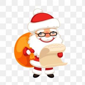 Vector Santa Claus With A Gift Bag - Santa Claus Christmas Ornament Gift PNG