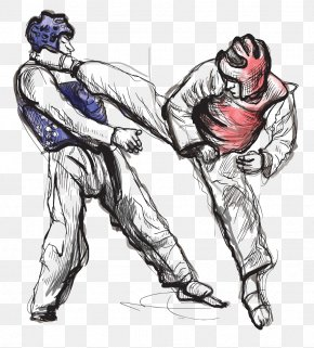 Hand-painted Fight - Taekwondo Drawing Stock Photography Illustration PNG