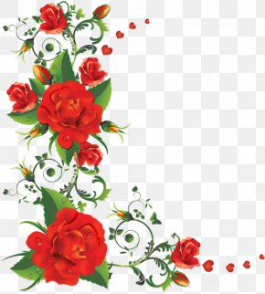Red Rose Border - Rose Flower Clip Art PNG
