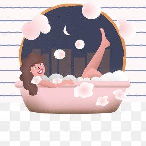 Illustration Of Bath Relax - Cartoon Drawing Illustration PNG