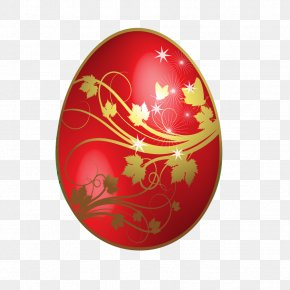 Large Red Easter Egg With Gold Flowers Ornaments - Red Easter Egg Clip Art PNG