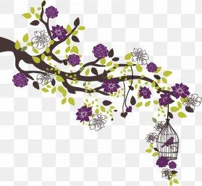 Flower Birdcage - Lilac Flower Gift Floral Design Purple PNG