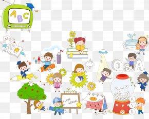 Kindergarten Cartoon Elements - Cartoon Child Illustration PNG