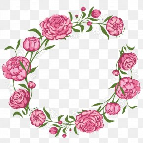Aesthetic Garland - Rose Flower Pink Wreath PNG