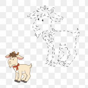Bow Tie Sheep And Goat Numbers - Goat Sheep Cartoon Illustration PNG