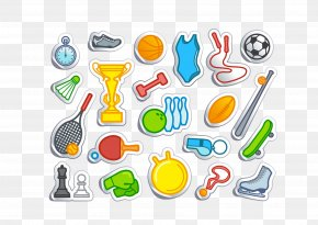 Sports Equipment Vector Folding Effect - Sports Equipment Cartoon PNG