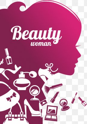 Purple Beauty Silhouette Effect - Cosmetics Beauty Parlour Wall Decal Mural Sticker PNG