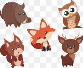 Cute Animals Vector Material Waibo PNG