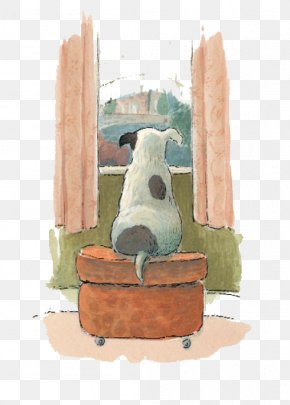 Dog Look Out The Window - Visual Arts Drawing Watercolor Painting Illustration PNG