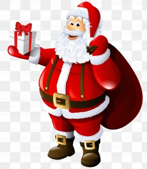Transparent Santa Claus With Gift And Bag - Mrs. Claus Santa Claus Gift Clip Art PNG