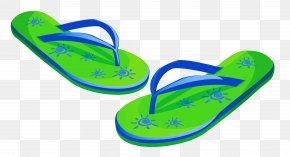 Transparent Green Beach Flip Flops Clipart - Flip-flops Clip Art PNG