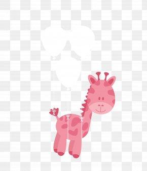 Vector Pink Cartoon Balloon With Giraffe - Northern Giraffe Diaper Infant Euclidean Vector Baby Shower PNG