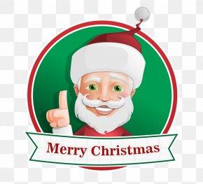 Hand-painted Santa Claus Cartoon Positive Ribbon - Santa Claus Christmas Gift Clip Art PNG