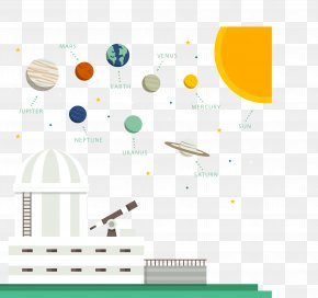 Vector Material Cartoon Planetarium And Solar System - Solar System PNG