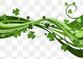 Clover Waves Ribbon Green - Saint Patricks Day Ireland Shamrock Clip Art PNG