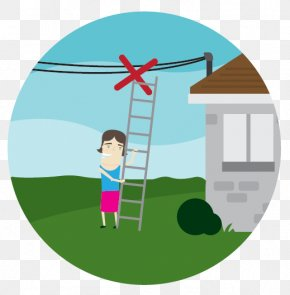 Cartoon Ladder - Overhead Power Line Electricity Wire Utility Pole Electric Power PNG