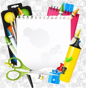 Vector Cartoon School Supplies - Paper School Supplies Icon PNG