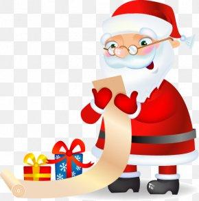 White-bearded Santa Claus Gift List - Santa Claus Christmas Ornament Clip Art PNG