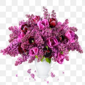 Purple Lilac Flowers - Flower Bouquet Tulip Lilac Garden Roses PNG